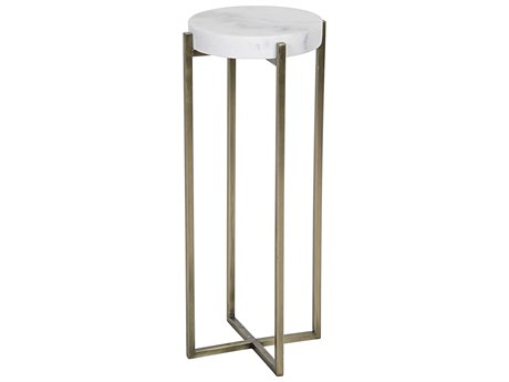 Noir Furniture Living Room Accents Antique Brass 11'' Wide Round End Table