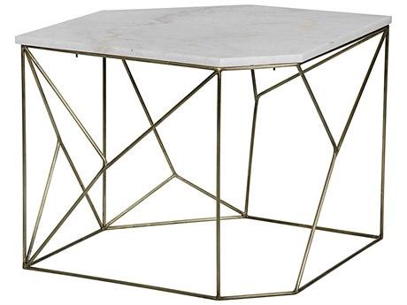 Noir Furniture Bast A Antique Brass 34.5'' x 24.5'' Octagonal Side Table
