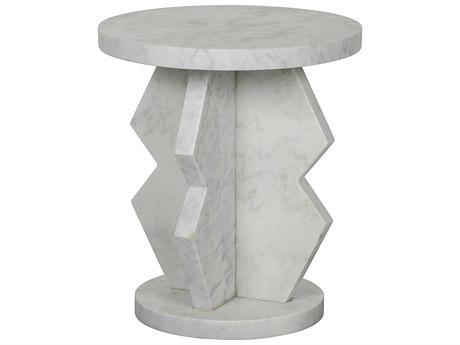 Noir Furniture Belasco White Marble 20'' Round Side Table NOIGTAB740