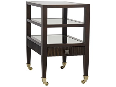Noir Furniture Lesly Distressed Brown 24'' Square Side Table
