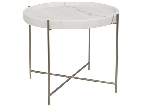 Noir Furniture Chuy Antique Silver 25'' Round Side Table