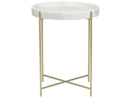 Noir Furniture Chico Antique Brass 21'' Round Side Table