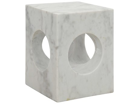 Noir Furniture Merlin White Stone 13'' Square Side Table NOIGTAB801