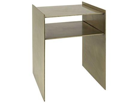 Noir Furniture Cyrus Antique Brass 16'' Square Side Table