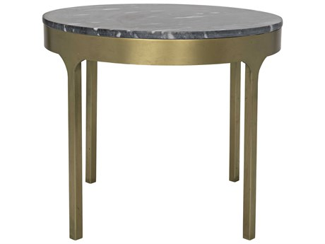 Noir Furniture Carol Antique Brass & Black Stone 25'' Round Side Table