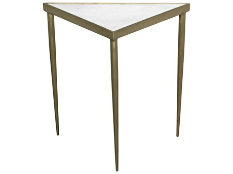 Noir Furniture Brass 17'' Wide Triangle Comet End Table NOIGTAB844MBM
