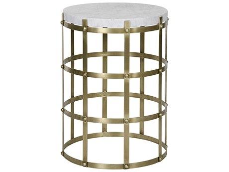 Noir Furniture St. Petersburg Antique Brass 20'' Round Foyer Table NOIGTAB287MB