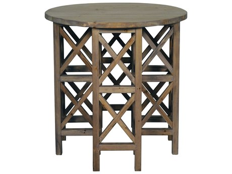 Noir Furniture Living Room Accents Old Wood 28'' Wide Round End Table
