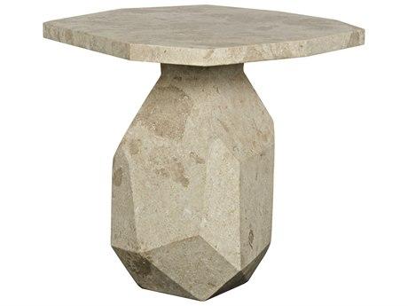 Noir Furniture Polyhedron White Marble 32.5'' x 31'' Octagonal Pedestal Table