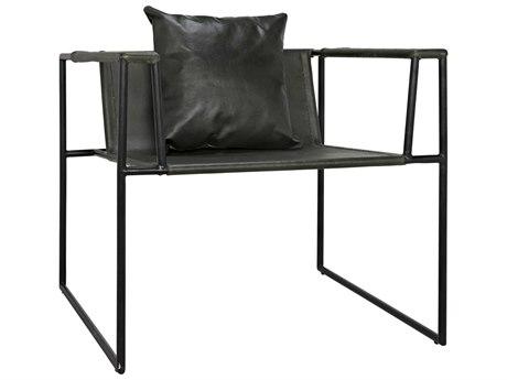 Noir Furniture Reinhold Black Leather Accent Chair
