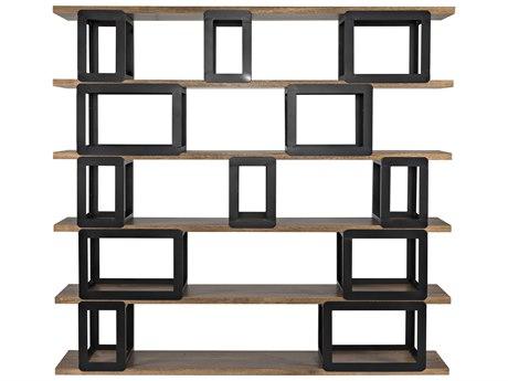Noir Furniture Dark Walnut And Black Metal Bookcase