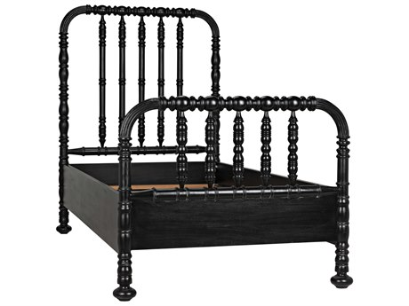 Noir Furniture Hand Rubbed Black Twin Panel Bed