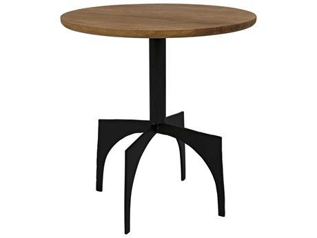 Noir Furniture Gold Teak 22'' Wide Round Pedestal Table