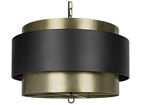 Noir Furniture Antique Brass Four-Light 24'' Wide Pendant