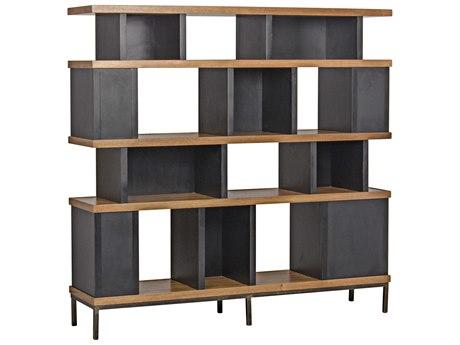 Noir Furniture Meier Dark Walnut & Hand Rubbed Black Etagere Bookcase