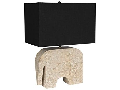 Noir Furniture White Marble / Black Shade One-Light Table Lamp