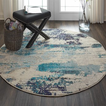 Nourison Celestial Ivory / Teal Blue Round Area Rug