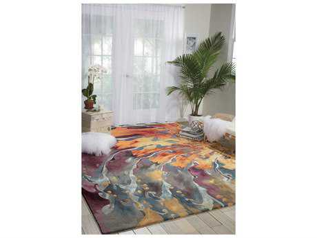 Nourison Prismatic Rectangular Blue, Orange, Yellow Area Rug NRPRS08MULTI