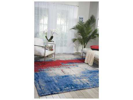Nourison Twilight Rectangular Blue, Grey, Red Area Rug