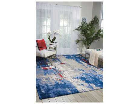 Nourison Twilight Rectangular Grey Blue Area Rug