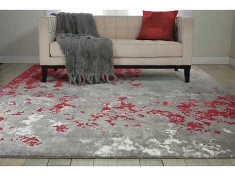 Nourison Twilight Rectangular Grey Red Area Rug