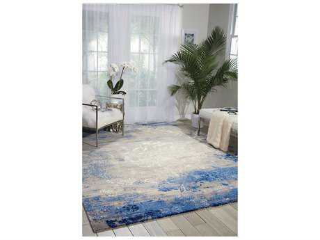 Nourison Twilight Rectangular Blue Grey Area Rug NRTWI22BLGRY