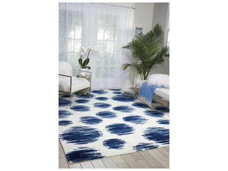 Nourison Twilight Rectangular Ivory Blue Area Rug