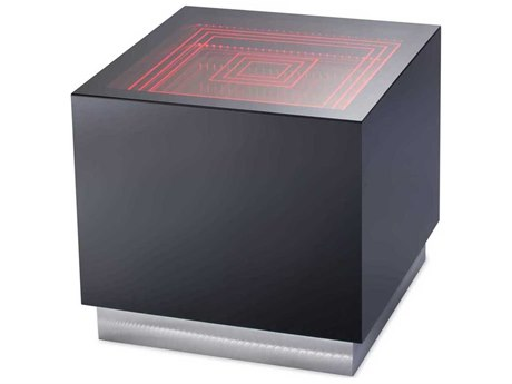 Nova Black Gloss / Bronze And Clear 23'' Wide Square End Table