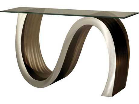Nova Meandering 50'' x 18'' Rectangular Root Beer & Brushed Aluminum Console Table NOVCST15RBA