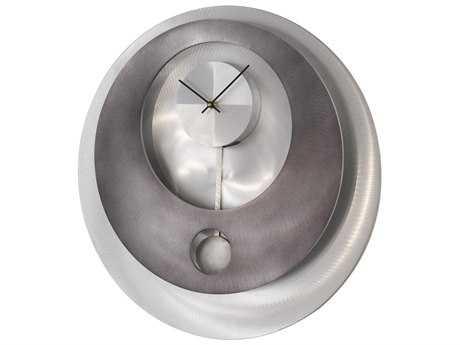 Nova Vendome Brushed Aluminum & Gunmetal Pendulum Wall Clock NOV3710180