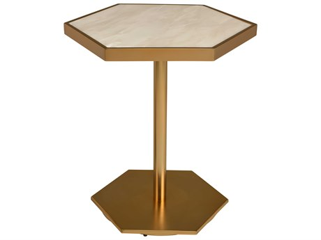 Nuevo Living Ciarra White 19'' x 19'' Hexagonal Pedestal Table NUEHGDJ957