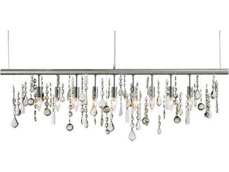 Nuevo Living Crystal Linear Clear Crystal / Silver Nine-Light 47.5'' Wide Island Light NUEHGML158