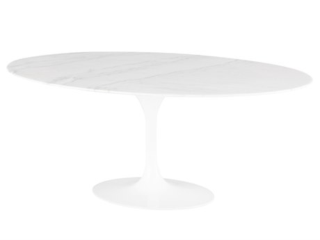 Nuevo Living Echo White 77'' Wide Oval Dining Table NUEHGEM851
