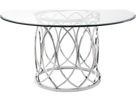 Nuevo Living Juliette Clear / Silver Round Dining Table