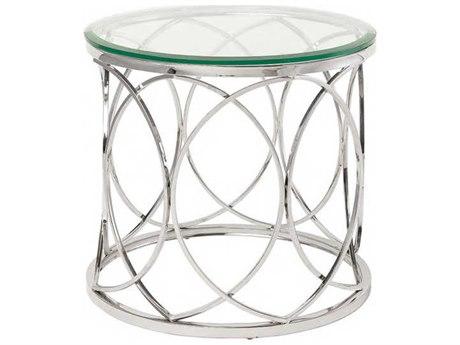Nuevo Living Juliette Clear 23.8'' Round Drum Table NUEHGTB238