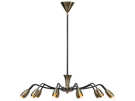 Nuevo Living Kendra Antique Brass / Black 12-Light 31.5'' Wide Chandelier NUEHGRA336