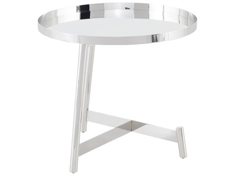 Nuevo Living Landon Silver 23'' Wide Round End Table
