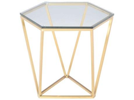 Nuevo Living Louisa 23.5'' x 20.5'' Hexagonal Drum Table NUELOUISASIDETABLE