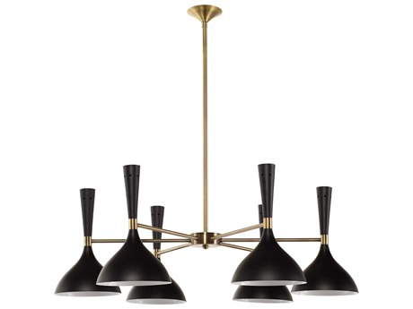 Nuevo Living Nella Black / Gold Six-Light 35.5'' Wide Chandelier NUEHGSK255