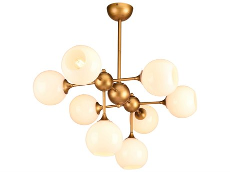 Nuevo Living Niklas White / Antique Gold Eight-Light 38.3'' Wide Island Light NUEHGRA556