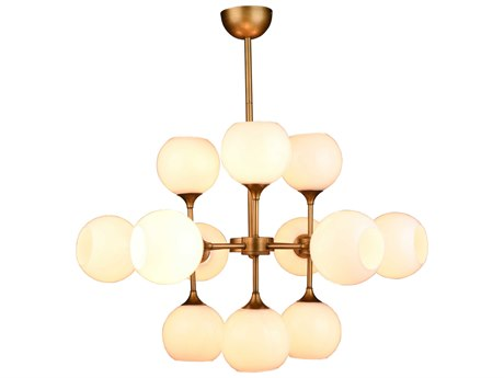 Nuevo Living Niklas White / Antique Gold 12-Light 32'' Wide Chandelier NUEHGRA561