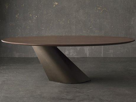 Nuevo Living Oblo Walnut / Matte Bronze 94'' Wide Oval Dining Table