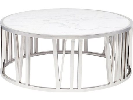 Nuevo Living Roman White / Silver 41'' Wide Round Coffee Table