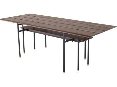 Nuevo Living Stacking Drop Leaf Smoked / Matte Black 86'' Wide Rectangular Dining Table