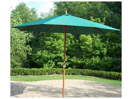 Oakland Living Wood 9 feet Market Umbrella with Crank PatioLiving