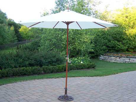 Oakland Wood 9' Umbrella with Crank and Stand