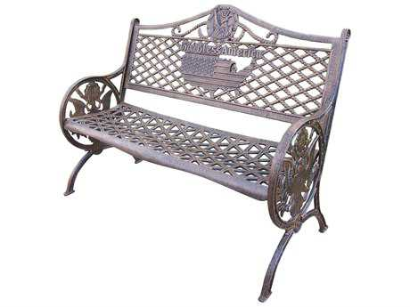 Oakland Living American Eagle Cast Aluminum GOD Bless America Bench