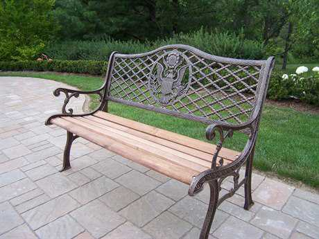 Oakland Living American Eagle Wrought Iron Wood Arm Bench PatioLiving