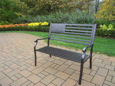 Oakland Living American Eagle Tubular Iron Pride Bench PatioLiving
