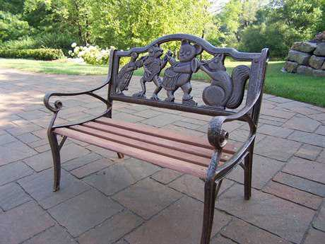 Oakland Living Garden Cast Iron Decorative Bench with Animal Band design